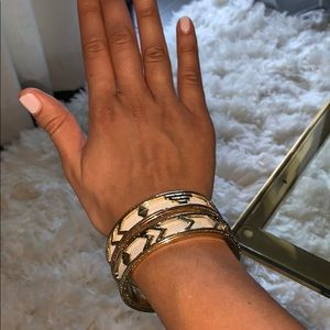 House of Harlow Aztec bangles leather & gold